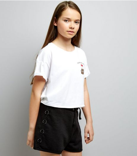 Teens Black Ring Side Jersey Shorts | New Look