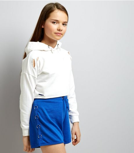 Teens Blue Ring Side Jersey Shorts | New Look