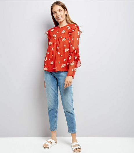 Red Floral Print Frill Sleeve Chiffon Top | New Look
