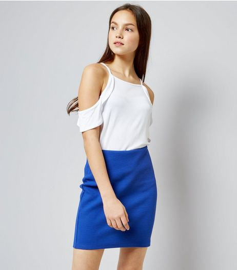 Teens Blue Ribbed Tube Skirt | New Look