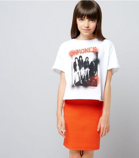 Teens Orange Ribbed Tube Skirt | New Look