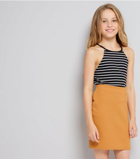 Teens Yellow Ribbed Tube Skirt | New Look