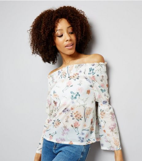 White Floral Print Mesh Shirred Bardot Neck Top  | New Look