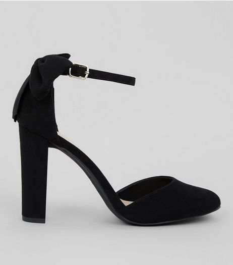 Black Suedette Bow Back Heels | New Look