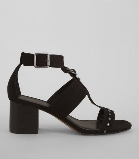 Black Suedette Studded Block Sandals | New Look