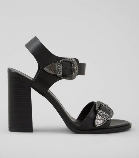 Black Western Buckle Strap Heeled Sandals | New Look