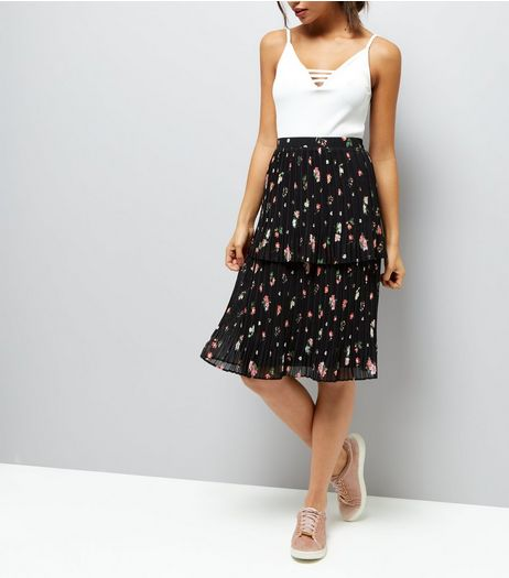 Black Floral Print Pleated Double Tier Midi Skirt | New Look