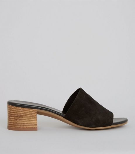 Black Suede Heeled Mules | New Look