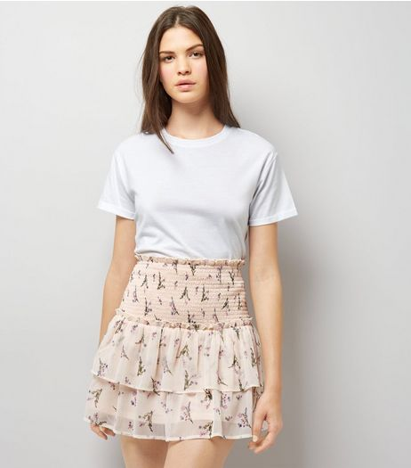 Pink Floral Print Tiered Mini Skirt | New Look