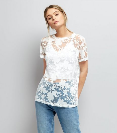 Cream Floral Print Short Sleeve Top  | New Look