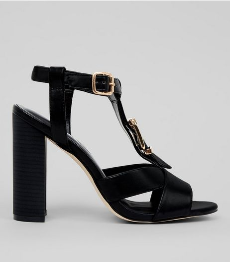 Black Buckle Block Heeled Sandals  | New Look