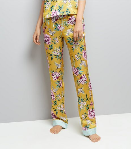 Tall Yellow Floral Print Pyjama Trousers  | New Look