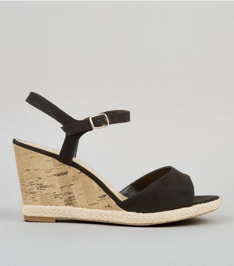 Wide Fit Black Cork Wedge Sandals | New Look