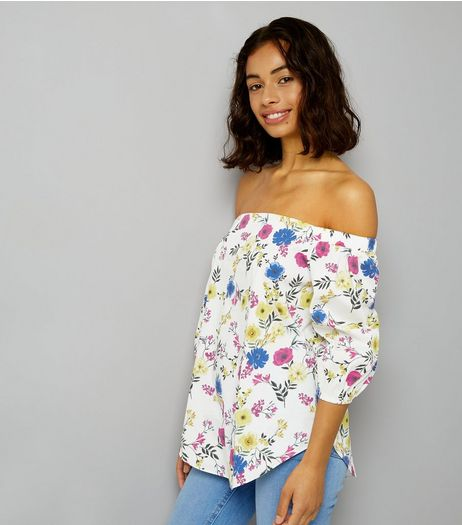 Petite White Floral Print Bardot Neck Top | New Look