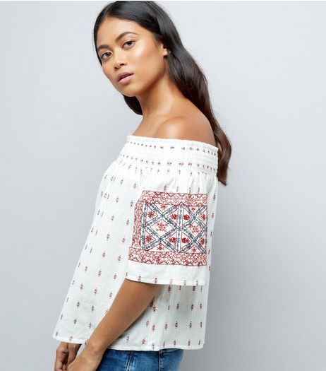 Petite White Embroidered Bardot Neck Top | New Look