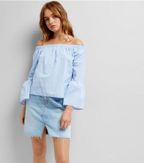 Blue Stripe Flared Sleeve Bardot Neck Top  | New Look