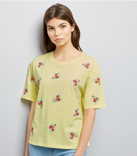 Yellow Floral Embroidered T-Shirt  | New Look
