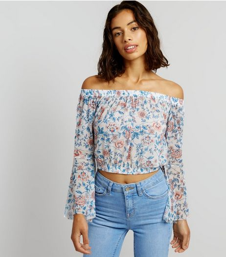 Petite Purple Floral Mesh Bell Sleeve Bardot Neck Top | New Look