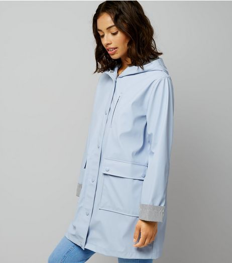 Petite Pale Blue Stripe Cuff Longline Matte Anorak | New Look
