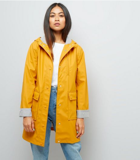 Petite Yellow Stripe Cuff Longline Matte Anorak | New Look