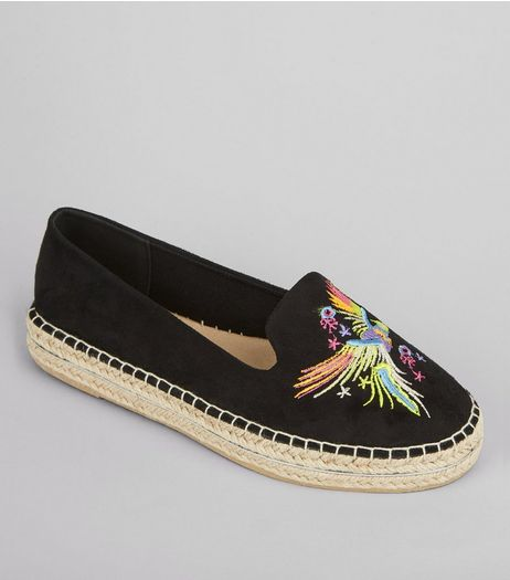 Black Bird Embroidered Espadrilles | New Look