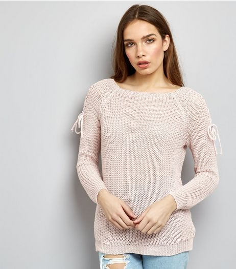 Mid Pink Tie Shoulder Knitted Jumper  | New Look