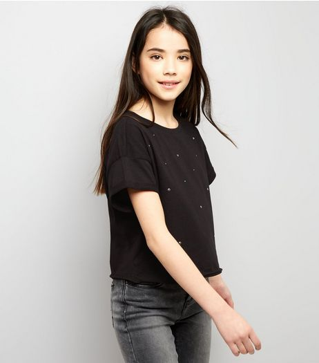 Teens Black Studded Cropped T-Shirt | New Look