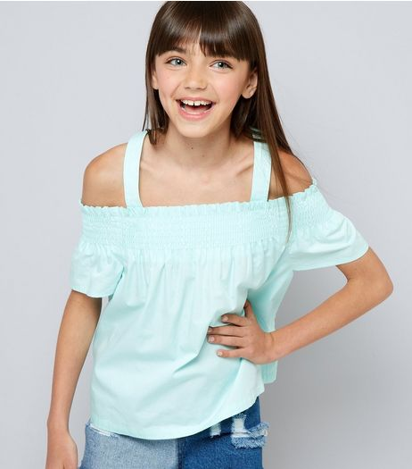 Teens Mint Green Shirred Cold Shoulder Top | New Look