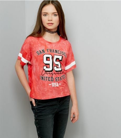 Teens Coral Tie Dye San Fransisco 95 Print T-Shirt | New Look