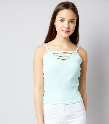 Teens Mint Green Ribbed Lattice Front Cami  | New Look