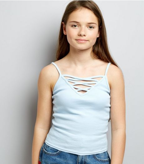 Teens Blue Ribbed Lattice Front Cami | New Look