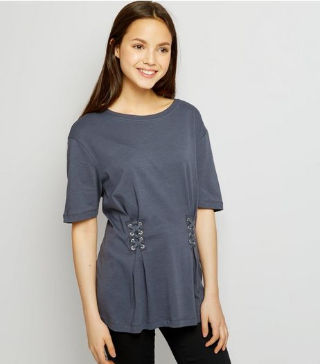 Teens Dark Grey Lace Up T-Shirt | New Look
