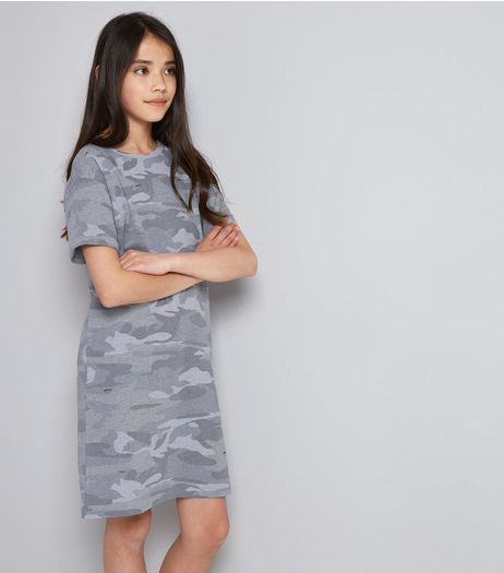 Teens Green Camo Print T-Shirt Dress | New Look