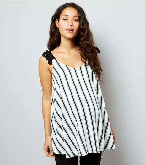 Maternity White Stripe Tie Strap Cami | New Look