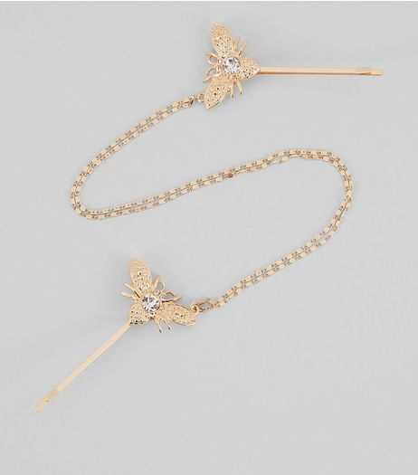Gold Bug Chain Hair Slide | New Look