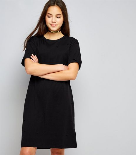 Teens Black Ripped T-Shirt Dress | New Look