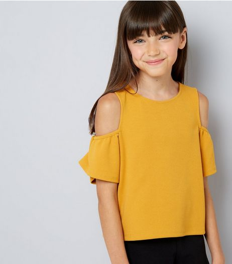 Teens Yellow Crepe Flutter Sleeve Cold Shoulder Top | New Look