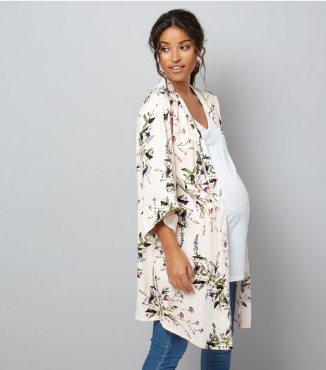 Maternity Pink Floral Longline Kimono | New Look