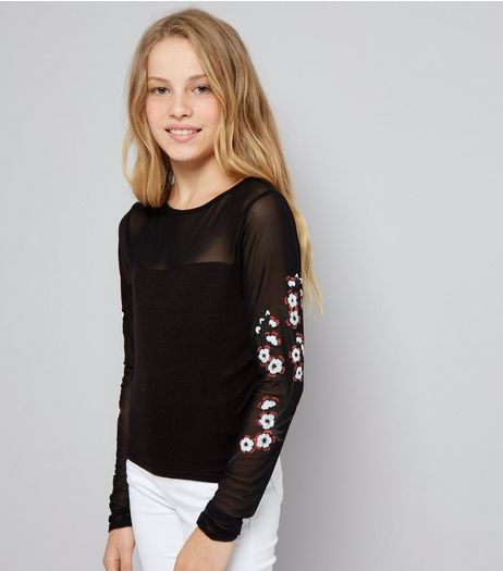 Teens Black Floral Print Mesh Sleeve Top | New Look