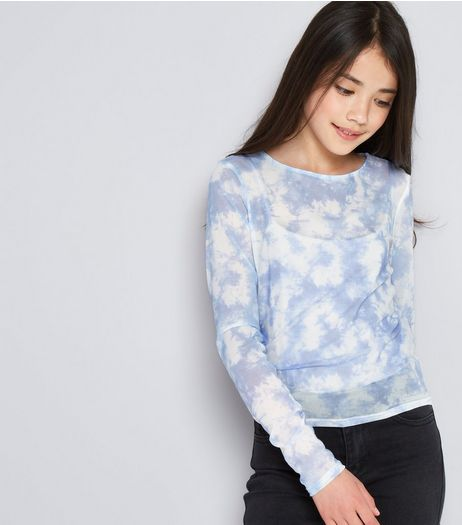 Teens Blue Tie Dye Mesh 2 in 1 Top | New Look