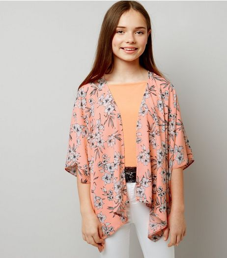 Teens Coral Floral Kimono | New Look