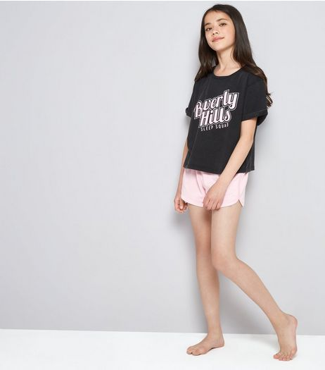 Teens Dark Grey Beverley Hills Print Pyjama Set | New Look