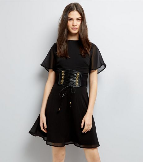 Black Corset Belt Dress | New Look