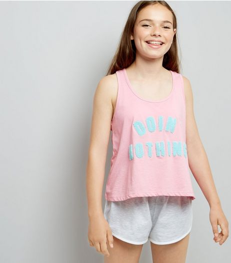 Teens Pink Doin Nothing Slogan Pyjama Set  | New Look