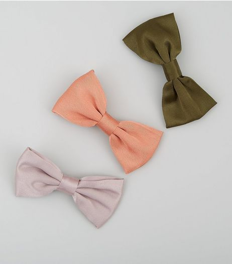 3 Pack Satin Bow Hair Clips | New Look