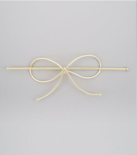 Gold Bow String Hair Slide | New Look