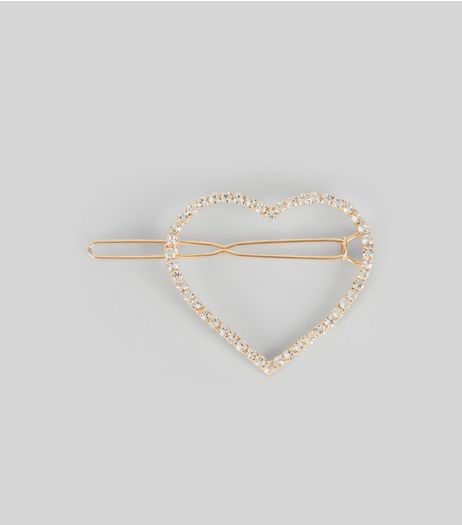 Gold Diamante Heart Hair Slide | New Look