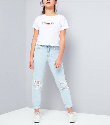Teens Pale Blue Ripped Lace Knee Mom Jeans | New Look