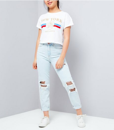 Teens Pale Blue Ripped Fishnet Knee Mom Jeans | New Look