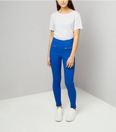 Teens Bright Blue Zip Pocket Skinny Trousers | New Look